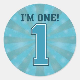 First Birthday Boy I m One Big Blue Number 1 Sticker