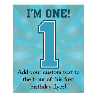 First Birthday Boy, I'm One, Big Blue Number 1 11.5 Cm X 14 Cm Flyer