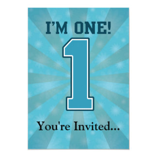 First Birthday Boy, I'm One, Big Blue Number 1 13 Cm X 18 Cm Invitation Card