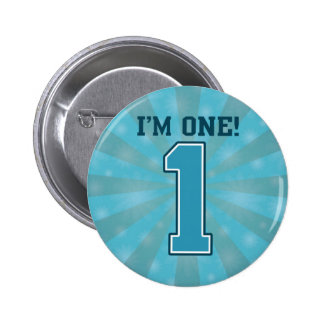 First Birthday Boy, I'm One, Big Blue Number 1 6 Cm Round Badge