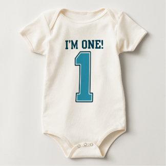 First Birthday Boy, I'm One, Big Blue Number 1 Baby Bodysuits