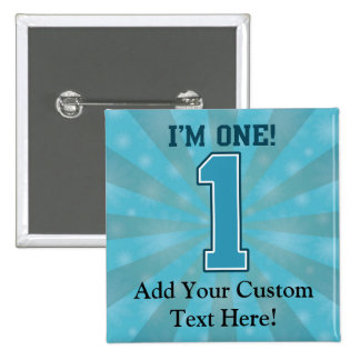 First Birthday Boy, I'm One, Big Blue Number 1 15 Cm Square Badge