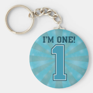 First Birthday Boy, I'm One, Big Blue Number 1 Basic Round Button Key Ring