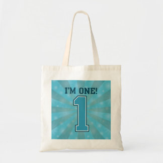 First Birthday Boy, I'm One, Big Blue Number 1 Budget Tote Bag