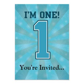 First Birthday Boy, I'm One, Big Blue Number 1 Card