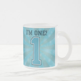 First Birthday Boy, I'm One, Big Blue Number 1 Frosted Glass Coffee Mug