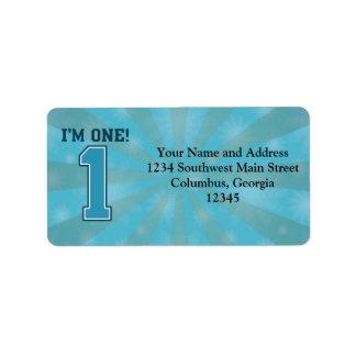 First Birthday Boy, I'm One, Big Blue Number 1 Address Label