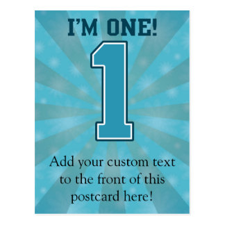 First Birthday Boy, I'm One, Big Blue Number 1 Postcard