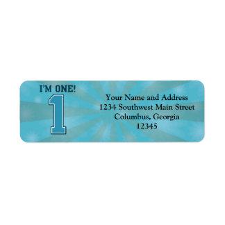 First Birthday Boy, I'm One, Big Blue Number 1 Return Address Label