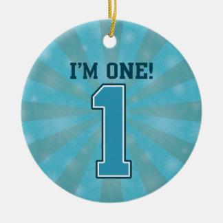 First Birthday Boy, I'm One, Big Blue Number 1 Round Ceramic Decoration