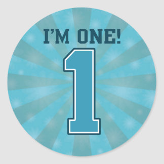 First Birthday Boy, I'm One, Big Blue Number 1 Round Sticker
