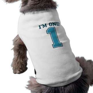 First Birthday Boy, I'm One, Big Blue Number 1 Sleeveless Dog Shirt