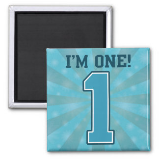 First Birthday Boy, I'm One, Big Blue Number 1 Square Magnet