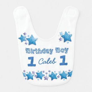 First Birthday Boy's Blue Personalized Big Bib