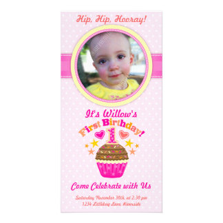 First Birthday Cupcake Girl Customized Photo Card
