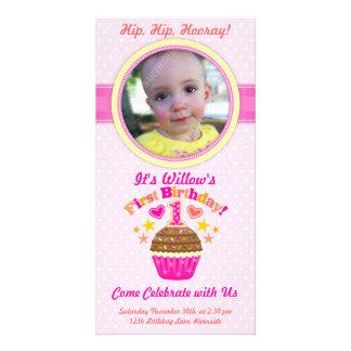 First Birthday Cupcake (Girl) Photo Cards