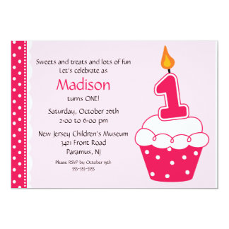 "First Birthday Cupcake Invitation 5"" X 7"" Invitation Card"