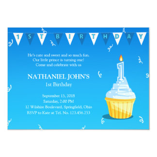 First Birthday Cupcake Party - Little Boy Card