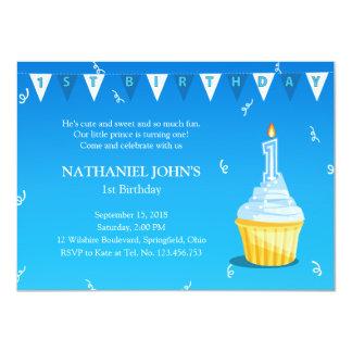 First Birthday Cupcake Party - Little Boy Invites