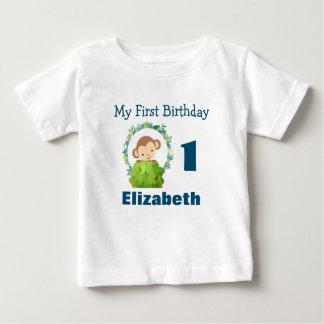 First Birthday Cute Safari Monkey Baby T-Shirt