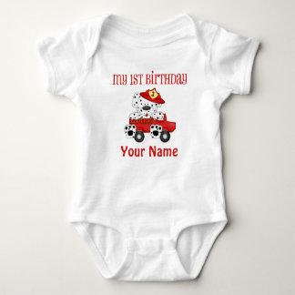 First Birthday Fire Truck Baby Bodysuit