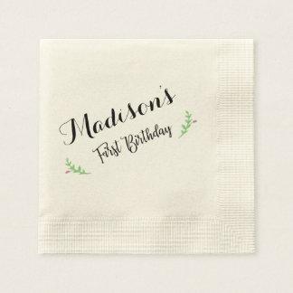 First Birthday Floral Napkin Disposable Serviettes