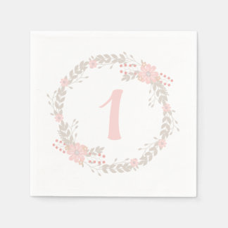 First Birthday Floral Paper Napkins