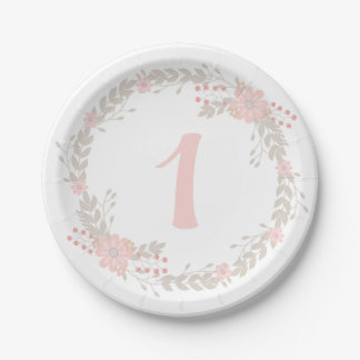 First Birthday Floral Paper Plates