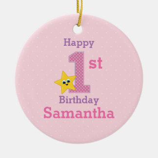 First Birthday Girl, Pink with Yellow Star Round Ceramic Decoration