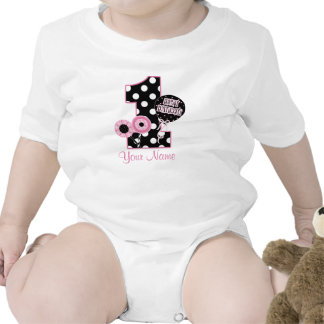 First Birthday Girls Pink Black Personalized Shirt