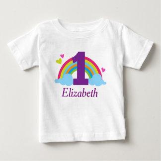 First Birthday Girls Rainbow Personalised T-shirt