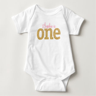 First Birthday Gold Glitter Outfit, Tutu Baby Bodysuit
