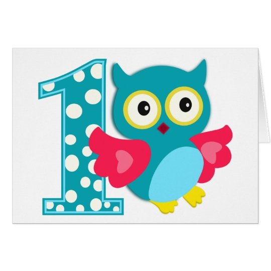 First Birthday Happy Owl Card