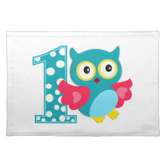 First Birthday Happy Owl Place Mat