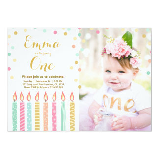 First birthday invitation Girl Confetti Candles