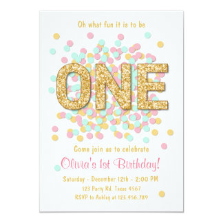 First birthday invitation Girl Pink Gold mint