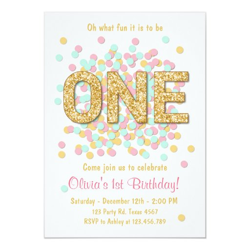 Personalised New Baby Or Birthday Card By Mint Nifty: First Birthday Invitation Girl Pink Gold Mint