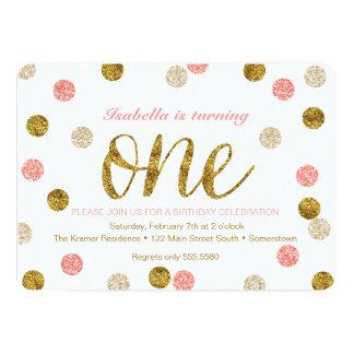 FIRST BIRTHDAY Invitation-Gold + Pink Glitter-ONE 13 Cm X 18 Cm Invitation Card