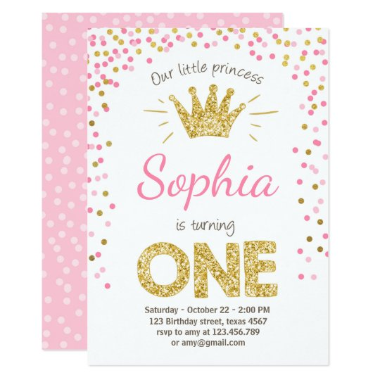 I Am One Pink And Gold Birthday Party Decorations One High: First Birthday Invitation Princess Gold Pink