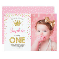 First Birthday Invitation Princess Gold Pink 1st Invitations