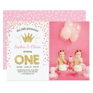 First Birthday Invitation Princess Gold Pink Twins