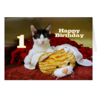 First Birthday Kitten with Toy Tiger Card