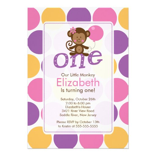 First Birthday Little Monkey Birthday Invitation