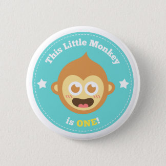 First Birthday, Little Monkey is One 6 Cm Round Badge