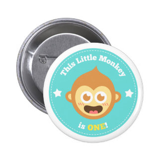 First Birthday, Little Monkey is One 6 Cm Round Badge