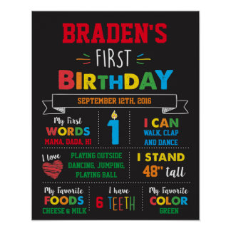First Birthday Milestone Poster