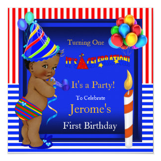First Birthday Party Boy Blue Red Ethnic Card