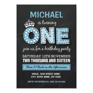 FIRST BIRTHDAY PARTY | CHALKBOARD PRINCE 13 CM X 18 CM INVITATION CARD