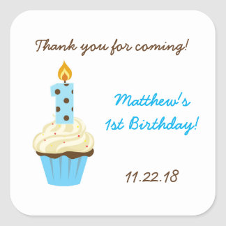 First birthday party favor sticker / blue cupcake