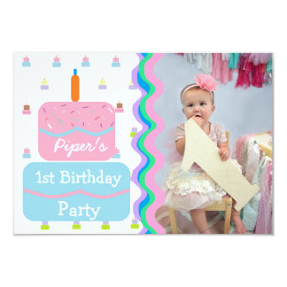 First Birthday Party for Baby Girl Invitations